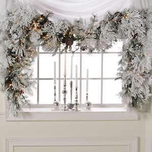 Colin Cowie 9 Flocked White Garland with Lights
