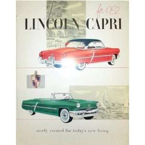 1952 LINCOLN CAPRI Sales Brochure Literature Book