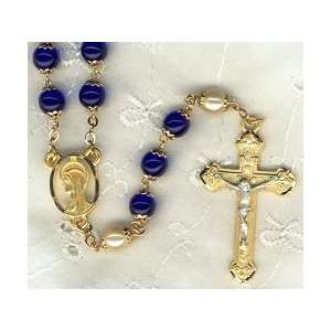 Pewter Rosary With Cobalt Blue Glass Beads Arts, Crafts & Sewing