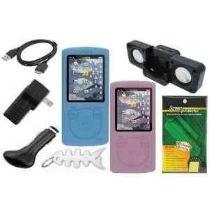 Blue & Pink), LCD Screen Protector, USB Wall Charger, USB Car Charger