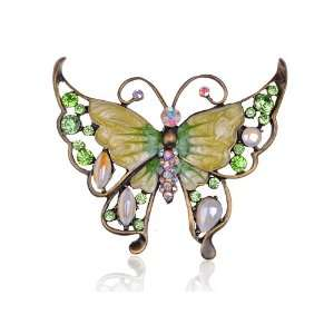 Crystal Rhinestone Enamel Painted Huge Butterfly Pin Brooch Jewelry