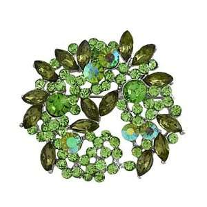 Silvertone Green 2 Rhinestone Wreath Brooch Pin Jewelry