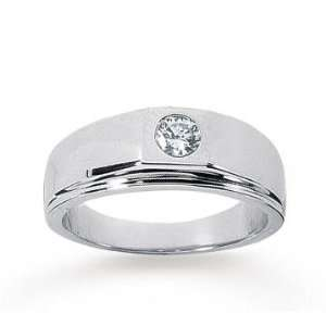 14k White Gold Slick Round 1/4 Carat Mens Diamond Ring Jewelry