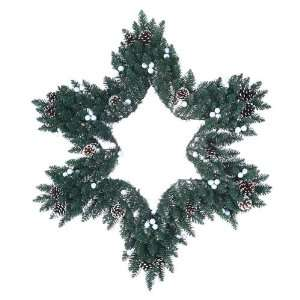 36 Star Shaped Artificial Christmas Wreath with White
