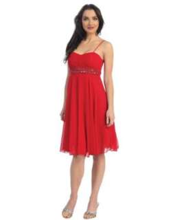 Ladies Red Satin Beaded Cocktail Dress Clothing