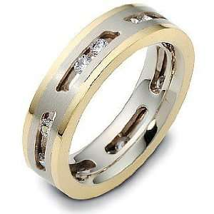 14 Karat Two Tone Gold Unique MOVING Diamond Wedding Band Ring   6.25