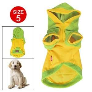 Size 5 Yellow Green Kangaroo Pocket Pet Dog Hooded Coat