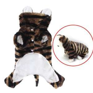 Pet Dog Tiger Print Costume Hoodie Hooded Coat Jumpsuit (S