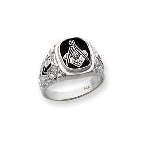 White Gold Diamond mens Masonic ring   Size 10   JewelryWeb Jewelry