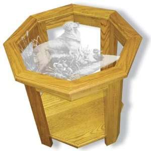 Glass Golden Retriever Dog in Solid Oak Octagon End Table Kitchen