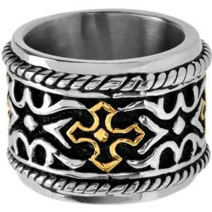 12   Inox Jewelry Gold Plated Cross 316L Stainless Steel Ring Jewelry