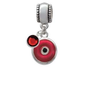 Red Evil Eye Good Luck European Charm Bead Hanger with Siam Swarovski