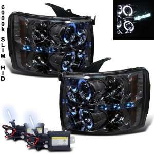 Xenon HID + 07 11 Chevy Silverado Smoke Halo LED Projector Head Lights