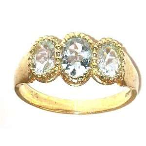 Luxury 9K Yellow Gold Ladies Aquamarine Ring   Finger Sizes 5 to 12