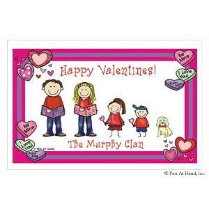 Stick Figure Personalized Placemats   (Valentines)