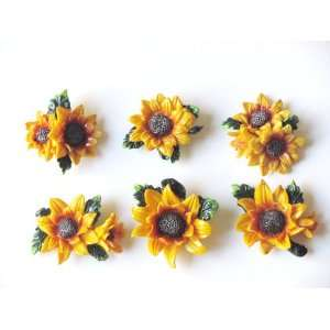 Lot of 6 Sunflower Refrigerator Magnets Fridge Kitchen
