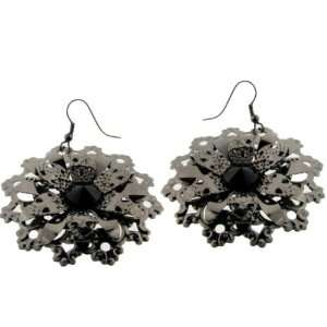 Gun Metal Flower Earrings Case Pack 3