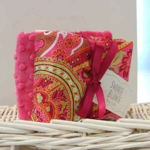 Hot Pink Dot/hot Pink Burp Cloth Set Multi Paisley
