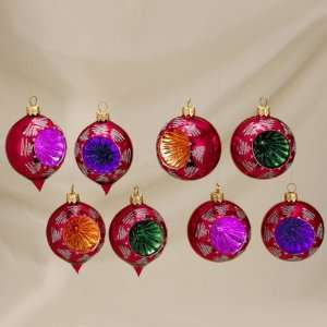 Club Pack of 96 Red Mouth Blown European Glass Reflector