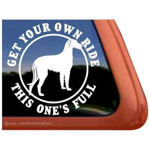 Full Ride ~ Irish Wolfhound Dog Vinyl Window Decal Sticker