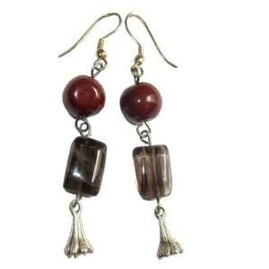 Earrings 04 Smoky Quartz Brown Red Silver Charm Crystal Stone 2.5