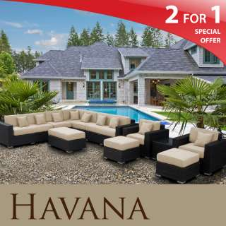 Havana Outdoor Wicker Patio 11 Piece Set Sand Modern Furniture
